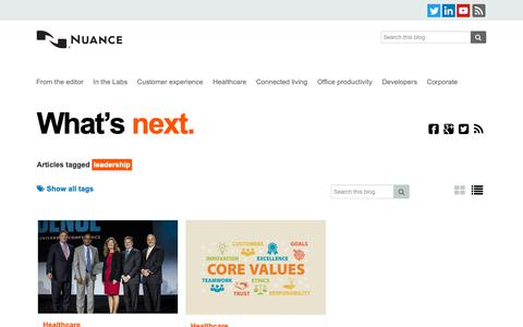 Screenshot of Team Page nuance.com - leadership Archives - What's next - captured Jan. 14, 2019