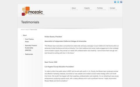 Screenshot of Testimonials Page mozaicmc.com - Testimonials | Mozaic Media & Communications - captured Oct. 26, 2014