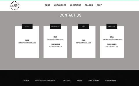 Screenshot of Contact Page juicepress.com - Contact | Juice Press - captured March 31, 2017