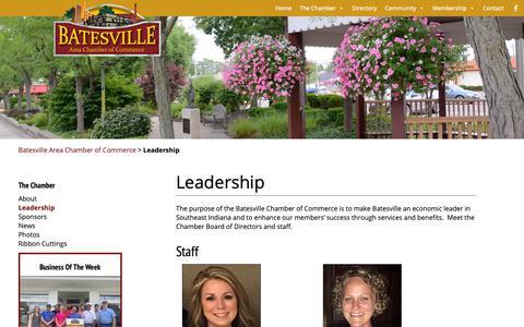 Screenshot of Team Page batesvillein.com - Leadership – Batesville Area Chamber of Commerce - captured Oct. 5, 2018