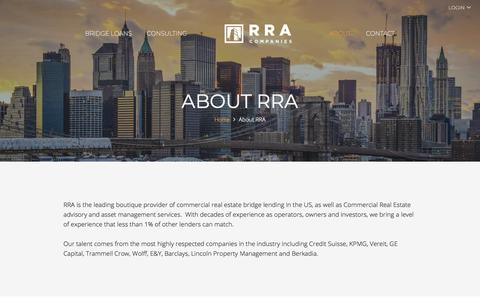 Screenshot of About Page rracompanies.com - About Direct Commercial Real Estate Bridge Loans | RRA Companies - captured Sept. 20, 2018