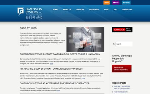 Screenshot of Case Studies Page dsisys.com - Case Studies | Dimension Systems Dimension Systems - captured Oct. 5, 2014