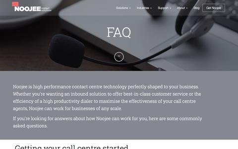 Screenshot of FAQ Page noojee.com.au - Call centre solutions FAQ - Noojee Contact SolutionsNoojee Contact Solutions - captured Feb. 15, 2016