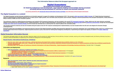 Screenshot of Home Page digital-ecosystems.org - Technologies for Digital Ecosystems  - Innovation Ecosystems Initiative - captured Oct. 10, 2015