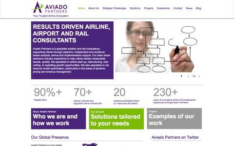 Screenshot of Home Page aviadopartners.com - Aviado Partners | Airline Consultants - captured Feb. 5, 2016