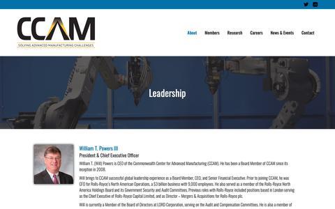 Screenshot of Team Page ccam-va.com - Leadership – CCAM | Commonwealth Center for Advanced Manufacturing - captured Nov. 10, 2018