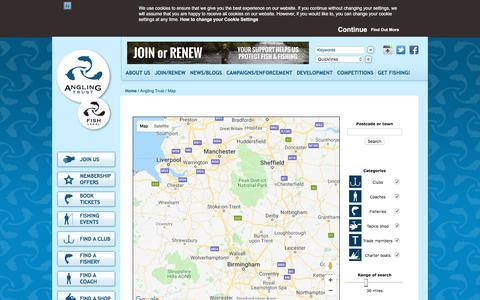Screenshot of Maps & Directions Page anglingtrust.net - The Angling Trust - captured July 30, 2018