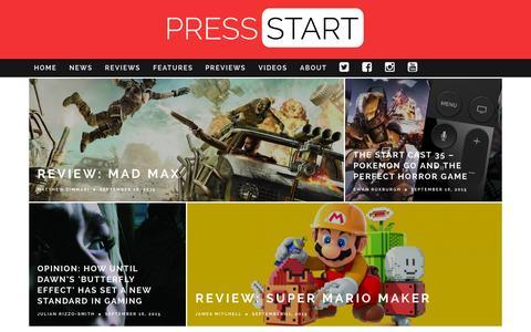 Screenshot of Home Page press-start.com.au - Press Start Australia - Bringing The Best Of Gaming To Australia - captured Sept. 19, 2015