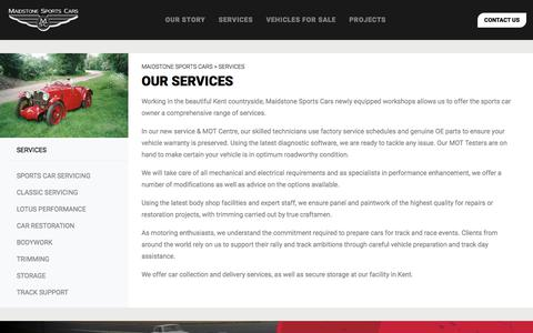 Screenshot of Services Page maidstonesportscars.co.uk - Workshop Services | Classic & Sports Car Services | Maidstone Sports Cars - captured July 27, 2018