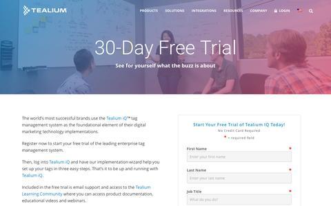 Screenshot of Trial Page tealium.com - Tealium iQ Free Trial | Tealium - captured Jan. 18, 2016