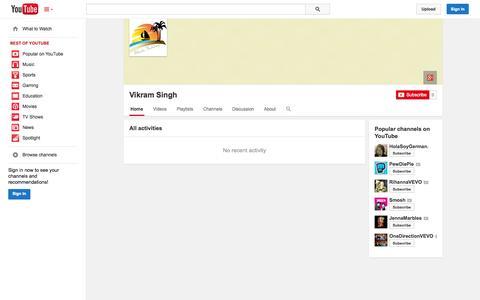 Screenshot of YouTube Page youtube.com - Vikram Singh  - YouTube - captured Oct. 24, 2014