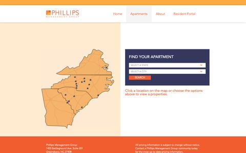 Screenshot of Locations Page phillipsmanagement.com - Locations - Phillips Management Group - captured Sept. 28, 2018