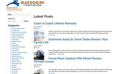 Screenshot of Blog bluedogrv.com - Blue Dog RV - #bluedogrvblog - captured Aug. 2, 2018