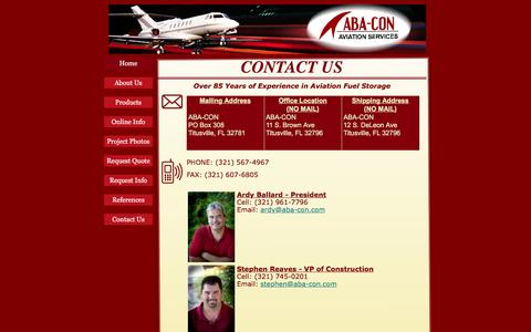 Screenshot of Contact Page aba-con.com - Contact Us - captured July 23, 2016