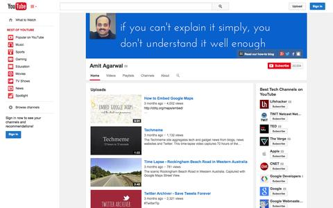 Screenshot of YouTube Page youtube.com - Amit Agarwal  - YouTube - captured Oct. 23, 2014
