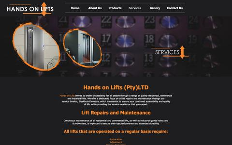 Screenshot of Services Page handsonlifts.co.za - Services - captured Sept. 27, 2018