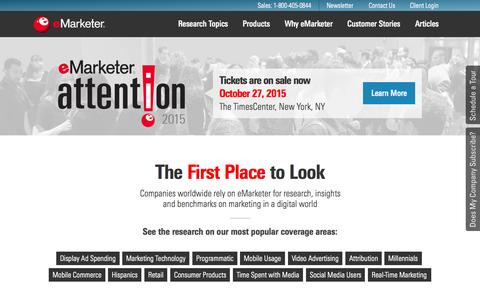 Screenshot of Home Page emarketer.com - Digital Marketing Research & Insights | eMarketer - captured Oct. 2, 2015