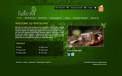 Screenshot of Home Page rusticart.in - Rustic Art - Handmade Organic Products in India - captured Sept. 30, 2014