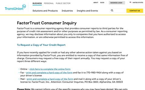 Screenshot of Support Page transunion.com - FactorTrust Consumer Inquiry | TransUnion - captured Feb. 20, 2019