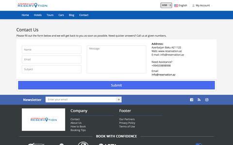 Screenshot of Contact Page reservation.az - Contact - captured Sept. 30, 2017