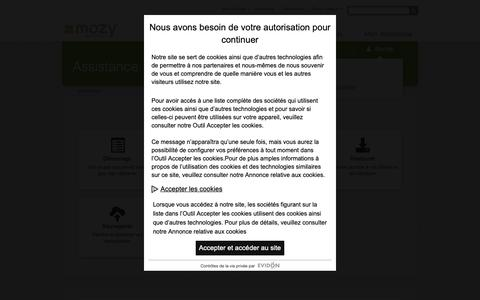Screenshot of Support Page mozy.fr - Mozy Assistance Technique Page d'accueil - captured Oct. 21, 2018
