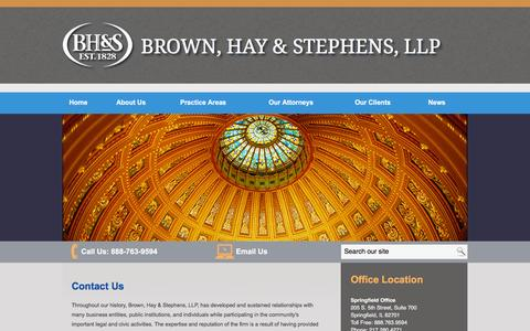 Screenshot of Contact Page bhslaw.com - Contact Brown, Hay & Stephens LLP in Springfield, Illinois - captured Feb. 8, 2016