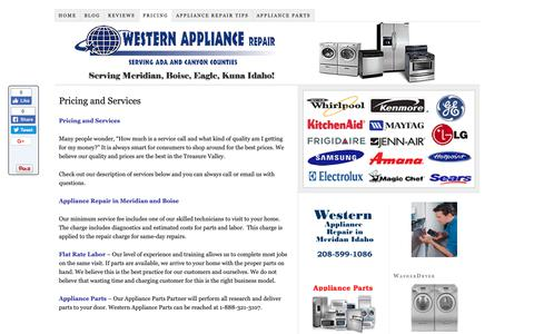 Screenshot of Pricing Page appliancerepairmeridian.com - Western Appliance Repair Pricing and Services - captured Oct. 18, 2018