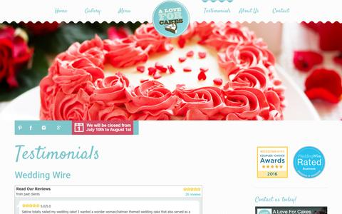 Screenshot of Testimonials Page aloveforcakes.com - Custom Cakes for All Occasions - captured May 15, 2017