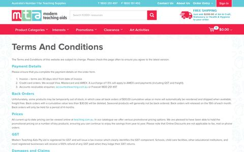 Screenshot of Terms Page teaching.com.au - Terms and Conditions - captured Nov. 29, 2016