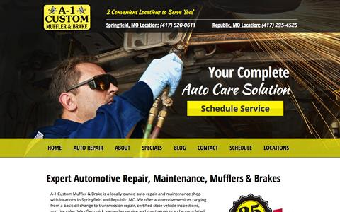 Screenshot of Home Page a-1customautorepair.com - A-1 Custom Muffler & Brake | Auto Repair Springfield & Republic MO - captured Oct. 3, 2014