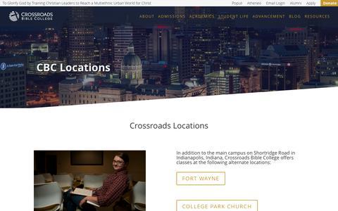 Screenshot of Locations Page crossroads.edu - Locations | Crossroads Bible College - captured Sept. 15, 2017