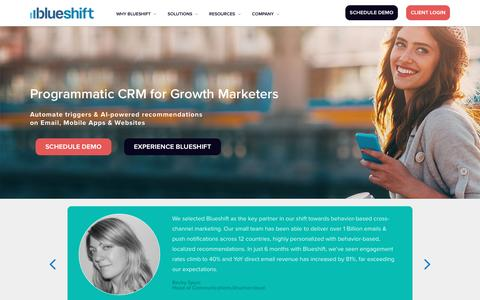 Screenshot of Home Page getblueshift.com - Programmatic CRM: AI Powered Automation for Digital Marketers - captured Jan. 26, 2017