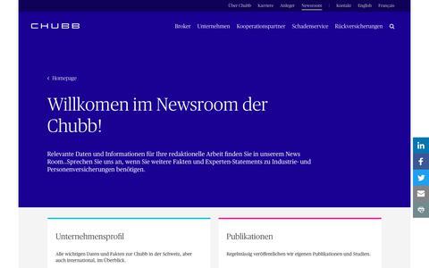 Screenshot of Press Page chubb.com - Willkommen in unserem Newsroom - Chubb - captured March 9, 2018