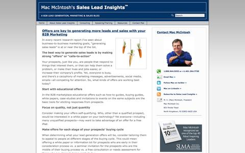 Screenshot of Home Page sales-lead-insights.com - Sales Lead Insights | B2B Lead Generation, Marketing and Sales Blog - captured Dec. 31, 2016
