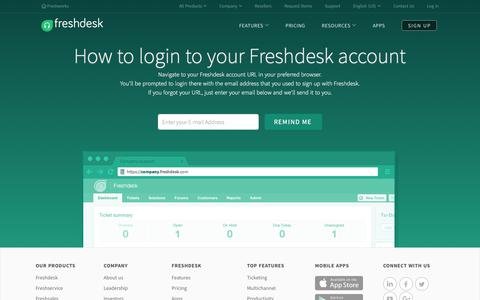 Screenshot of Login Page freshdesk.com - Login to your Freshdesk Account - captured June 8, 2017