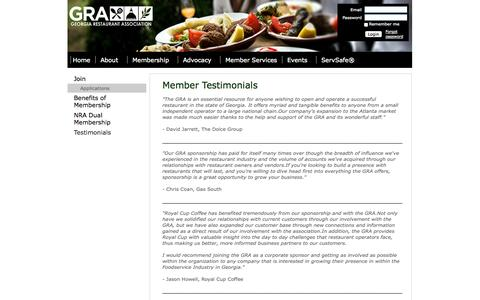 Screenshot of Testimonials Page garestaurants.org - Georgia Restaurant Association - Testimonials - captured Oct. 2, 2014