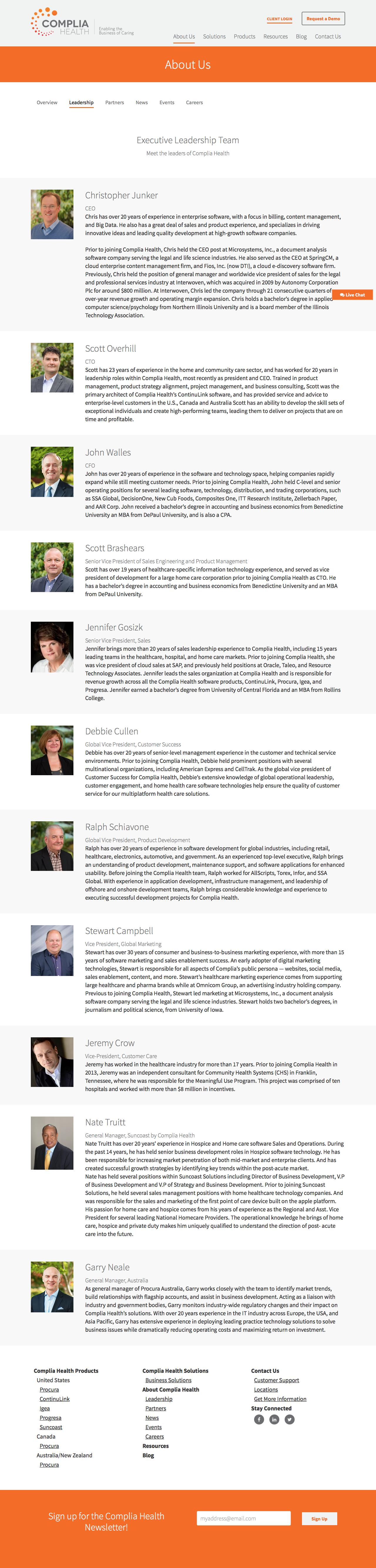 Screenshot of compliahealth.com - Leadership at Complia - captured Oct. 22, 2016