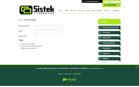 Screenshot of Login Page sisteksp.com.br - Acesso Restrito - Sistek - captured Oct. 26, 2014