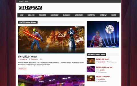 Screenshot of Press Page sithspecs.com - SWTOR Guides & News | SithSpecs - captured Nov. 4, 2014