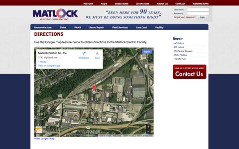 Screenshot of Maps & Directions Page matlockelectric.com - Matlock Electric | Map | Driving Directions | Cincinnati, Ohio - captured Oct. 27, 2014