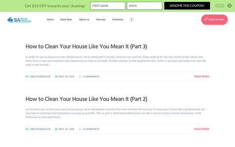 Screenshot of Blog bahousecleaning.com - BA Huse Cleaning - captured July 23, 2018