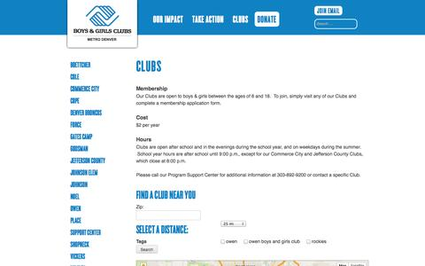 Screenshot of Locations Page bgcmd.org - Clubs | Boys & Girls Clubs of Metro Denver - captured Oct. 5, 2014