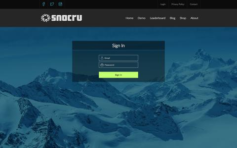 Screenshot of Login Page snocru.com - SNOCRU - TURN THE MOUNTAINS ON® - captured Aug. 2, 2015