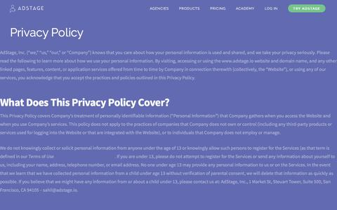Screenshot of Privacy Page adstage.io - Privacy Policy | AdStage - captured Feb. 18, 2016
