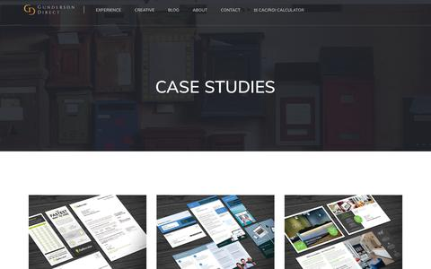 Screenshot of Case Studies Page gundersondirect.com - Case Studies - Direct Mail and Direct Marketing Agency: Offering direct response marketing, direct mail production, design, copywriting, located in San Francisco CA Bay Area - captured Sept. 30, 2018