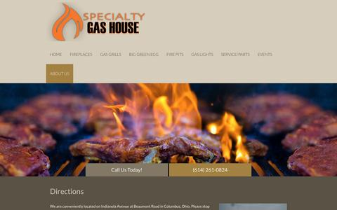 Screenshot of Maps & Directions Page specialtygashouse.com - Grilling Goods | Columbus, OH | Specialty Gas House - captured Aug. 18, 2016