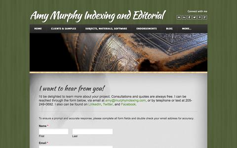 Screenshot of Contact Page murphyindexing.com - Contact Amy - Amy Murphy Indexing and Editorial - captured Oct. 4, 2014