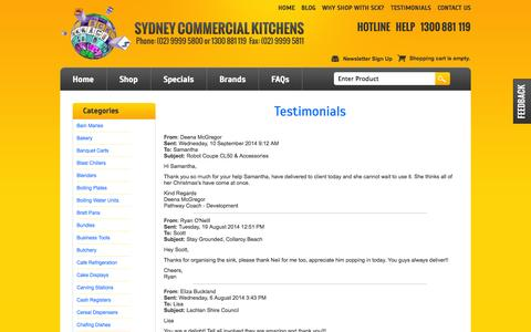 Screenshot of Testimonials Page sydneycommercialkitchens.com.au - Testimonials .. what our customers say! Sydney Commercial Kitchens Catering equipment - captured Sept. 22, 2014