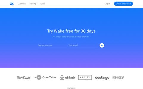 Screenshot of Signup Page wake.io - Sign Up - Wake - captured Dec. 1, 2015