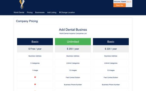 Screenshot of Pricing Page dental-implants-center.net - Company Pricing – Dental Implants Companies list - captured Oct. 11, 2017